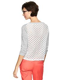 Eyelet-back sweater - heather gray