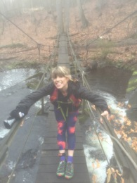 Helene on the scary bridge