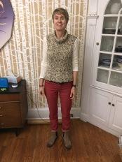 Sloper vest and red Morgan Jeans